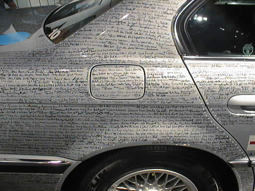 BMW 740iL With Drive For The Cure Signatures Detail C Pillar